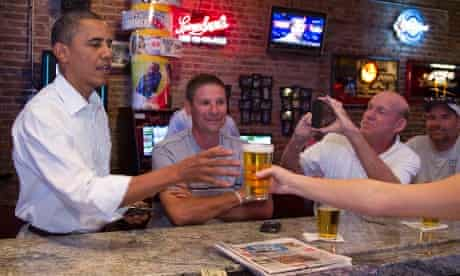 Meanwhile a thirsty Barack Obama stops for a beer at The Pump House, a pub and grill in Cedar Falls, Iowa.