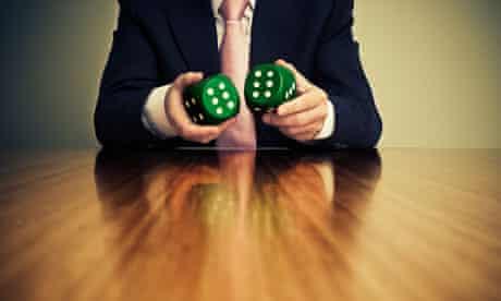 Man holding dice