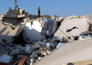 Syrian Conflict: Syrian Conflict: Housing destroyed by air strikes in Azaz