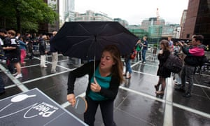 Playing ping pong in Broadgate, the City of London