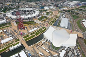 London Legacy: An aerial view of Olympic Park showing The Orbit on left