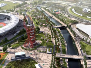 A computer generated image showing arial of Olympic Park with the Orbit