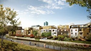 A computer generated image showing proposed housing along canal