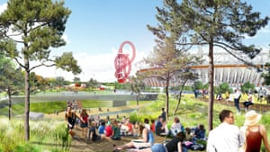 Computer generated view of people relaxing in gardens of Olympic Site