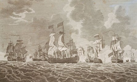 An engraving shows the Namur fighting in the Battle of Lagos, a key incident in the Seven Years' War