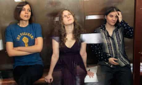 The three members of Pussy Riot, Nadezhda Tolokonnikova, Maria Aliokhina and Yekaterina Samutsevich