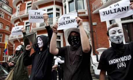 UK - London - Supporters of Julian Assange outside the Ecuador Embassy
