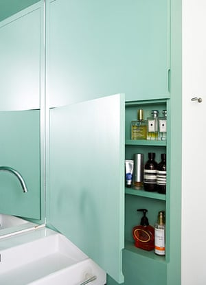 Homes: Bathroom: A small cavity hasbeen turned into a shallow cabinet