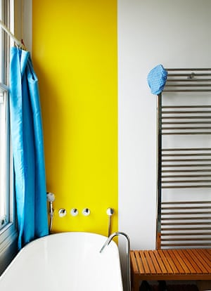 Homes: Bathroom: Bathroom with a strip of bright yellow paint