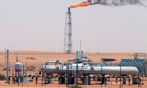 Saudi Aramco facilities in the desert at Khurais oil field