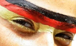 German flag on a woman's face