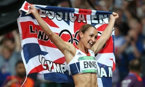 Jessica Ennis celebrates her gold medal