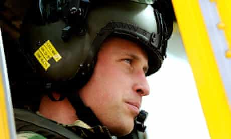 Prince William pilots a Sea King helicopter during a training exercise