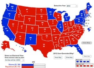 US political map, 2012 election projections