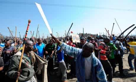 Violence at Lonmins Marikana Platinum Mine, Rustenburg, South Africa - 16 Aug 2012