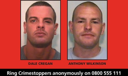 A wanted poster for Dale Cregan (left) and Anthony Wilkinson who are suspects in David Short's death