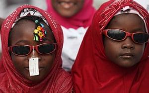 Eid al-Fitr begins: Muslim girls in sunglasses at Eid al-Fitr prayers in Lagos