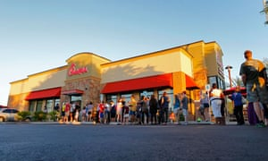 customers queue outside a Chick-fil-A restaurant in Arizona on Chick-fil-A appreciation day.