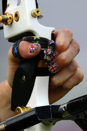 nail: A detail view of the hand and nail varnish of Naomi Folkard
