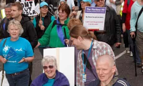 Protest by disabled people over benefit cuts