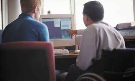 A disabled person at work