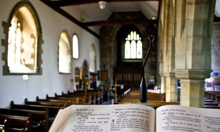 Church interior with close up of bible