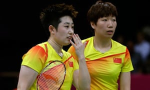 Disqualified Olympic badminton players, China's Yu Yang (left) and Wang Xiaoli.