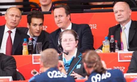 Vladimir Putin and David Cameron at the Olympics judo