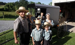 Smile, you're on television … Miriam, David and kids in Amish: A Secret Life.
