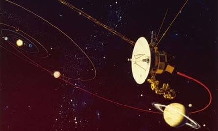 Simulation of Voyager 2 space probe 1977