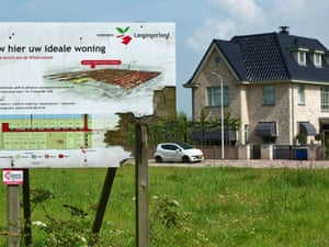 A weathered wooden sign advertising new luxury housing is seen in Lansingerland, the Netherlands, August 14, 2012.