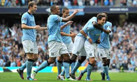 Manchester City players celebrating against Southampton