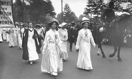 The Pankhursts – Christabel, Emmeline and Sylvia – lead a suffragette parade through London in 1911
