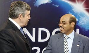 Meles Zenawi with Gordon Brown in 2009