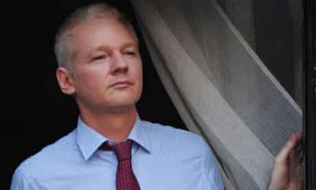 WikiLeaks founder Julian Assange on the balcony of the Ecuadorian embassy in London on Sunday