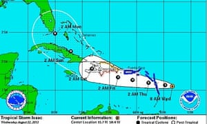 An NOAA map tracking Tropical Storm Isaac, which was expected to make landfall in Florida Monday morning.