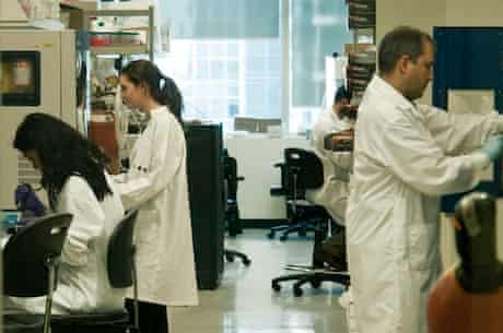 Scientists in a core lab