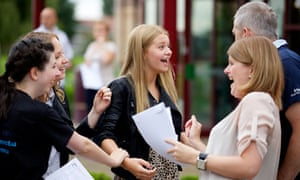 Pupils at Ysgol Morgan Llywd in Wrexham collecting their GCSE results