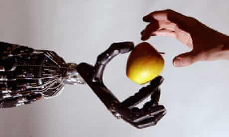 Dextrous hand robot holds an apple