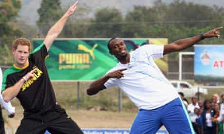 Prince Harry with Usain Bolt