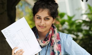 Tayyaba Rafiq of Manchester High School for Girls with her GCSE results on 23 August 2012.