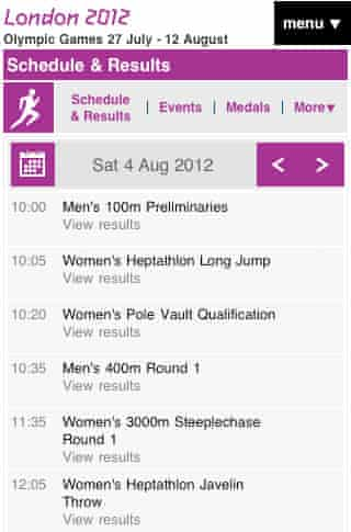 Olympics website mobile image
