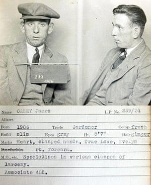1930s Police mugshots: A mug shot from a police identification book