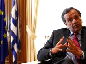 Greek Prime Minister Antonis Samaras is pictured in his office in Megaro Maximou on August 21, 2012 in Athens, Greece.
