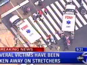 Emergency personnel respond to reports of several people being shot outside the Empire State Building in New York.