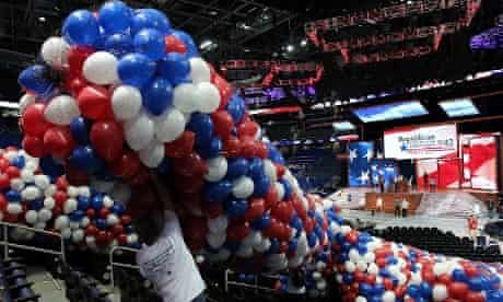 Volunteers prepare balloons that will be dropped from the ceiling during the Republican National Convention at the Tampa Bay Times Forum in Florida