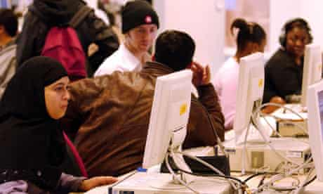 Students using computers at the University of Luton