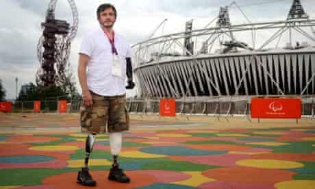 Giles Duley outside the Olympic Stadium
