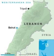 黎波里和贝鲁特在黎巴嫩的位置。