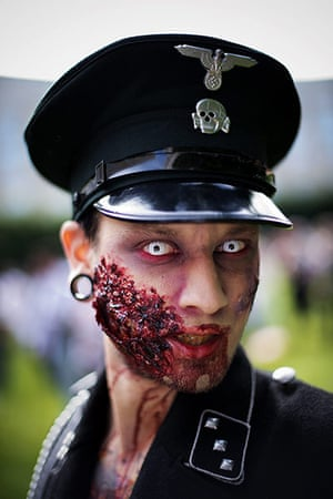 Zombie walk: A young man dressed as a Nazi zombie